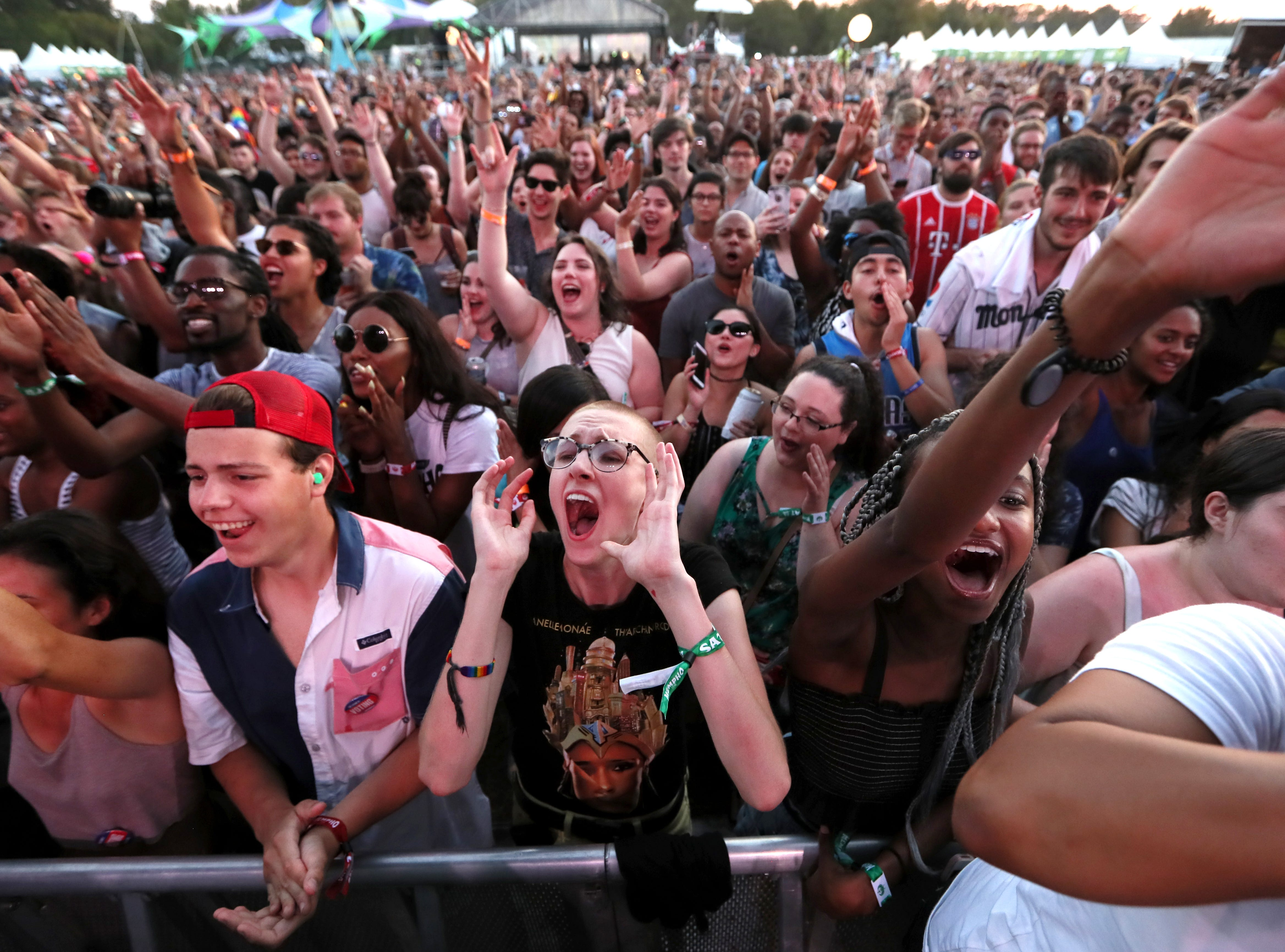 Fans cheer on Janelle Monáe during the second annual Mempho Music Fest at Shelby Farms Park on Saturday, Oct. 6, 2018.