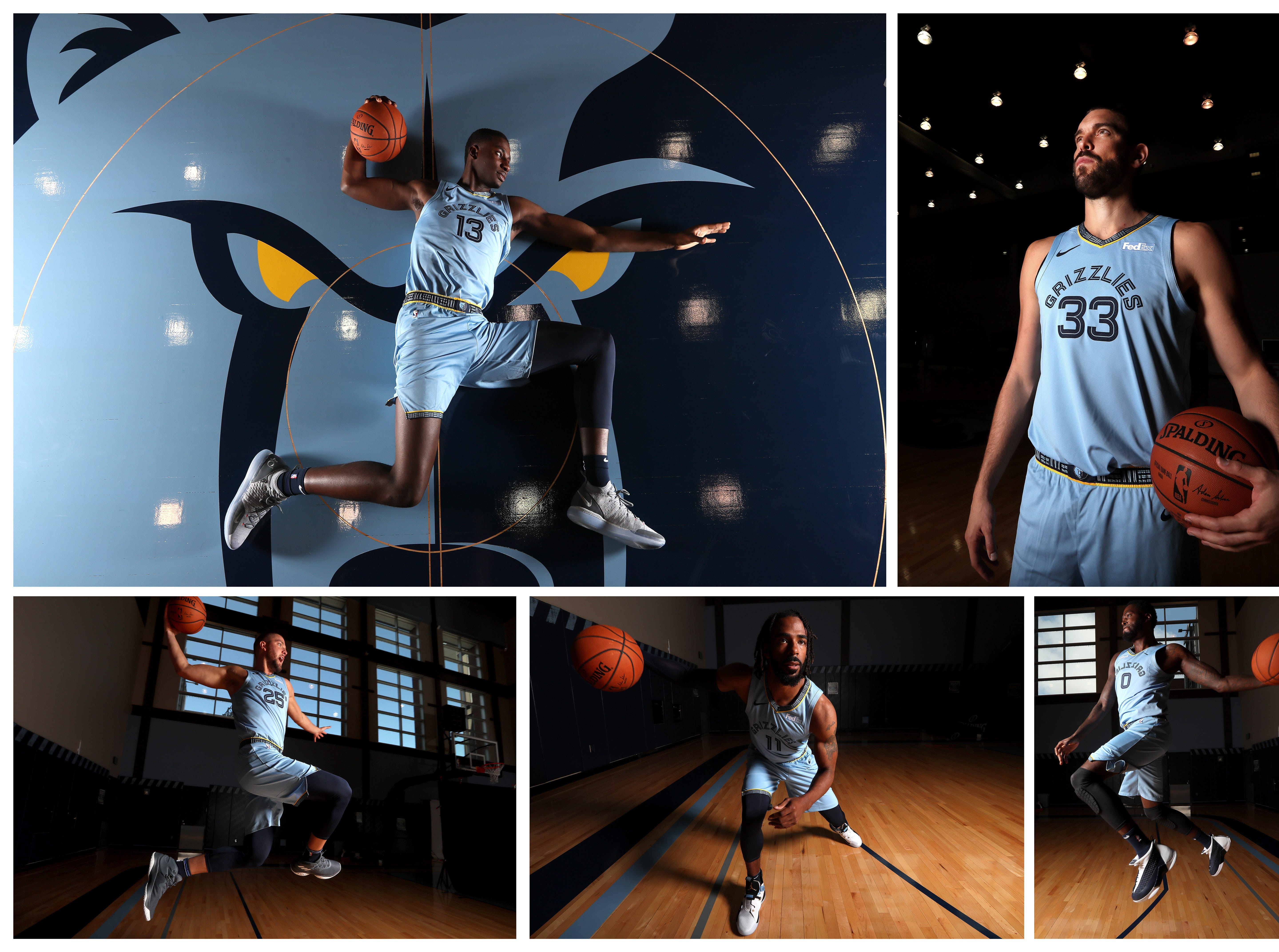 Memphis Grizzlies players clockwise from top-left: Jaren Jackson Jr., Marc Gasol, JaMychal Green, Mike Conley, and Chandler Parsons during the team Media Day on Monday, Sept. 24, 2018.
