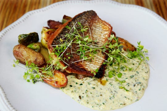 Pan-seared whitefish with brussels sprouts, fingerling potatoes and dill pickle remoulade, on the fall-winter menu at Brandywine, W61-N480 Washington Ave.  in Cedarburg.