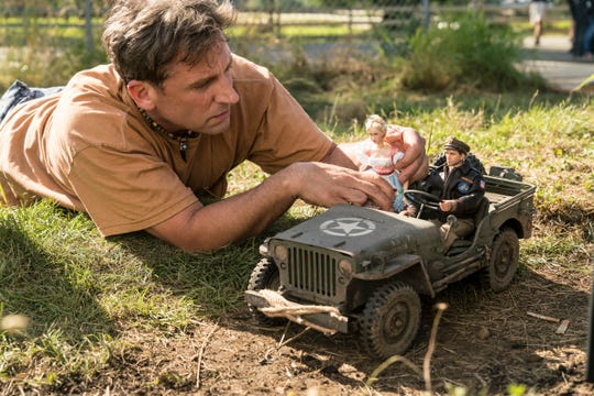 "Steve Carell plays a man trying to rebuild his life with help from a scale model of a World War II town in ""Welcome to Marwen."""