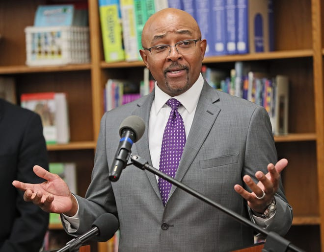 December 19, 2018 Governor-elect Tony Evers announced 4 of his cabinet choices at Edward MacDowell Montessori School in Milwaukee.   Here Preston Cole, Department of Natural Resources speaks.  Michael Sears/Milwaukee Journal Sentinel