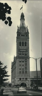 150 years of news. The sign on City Hall announced the 150th birthday of The Milwaukee Sentinel in 1987.
