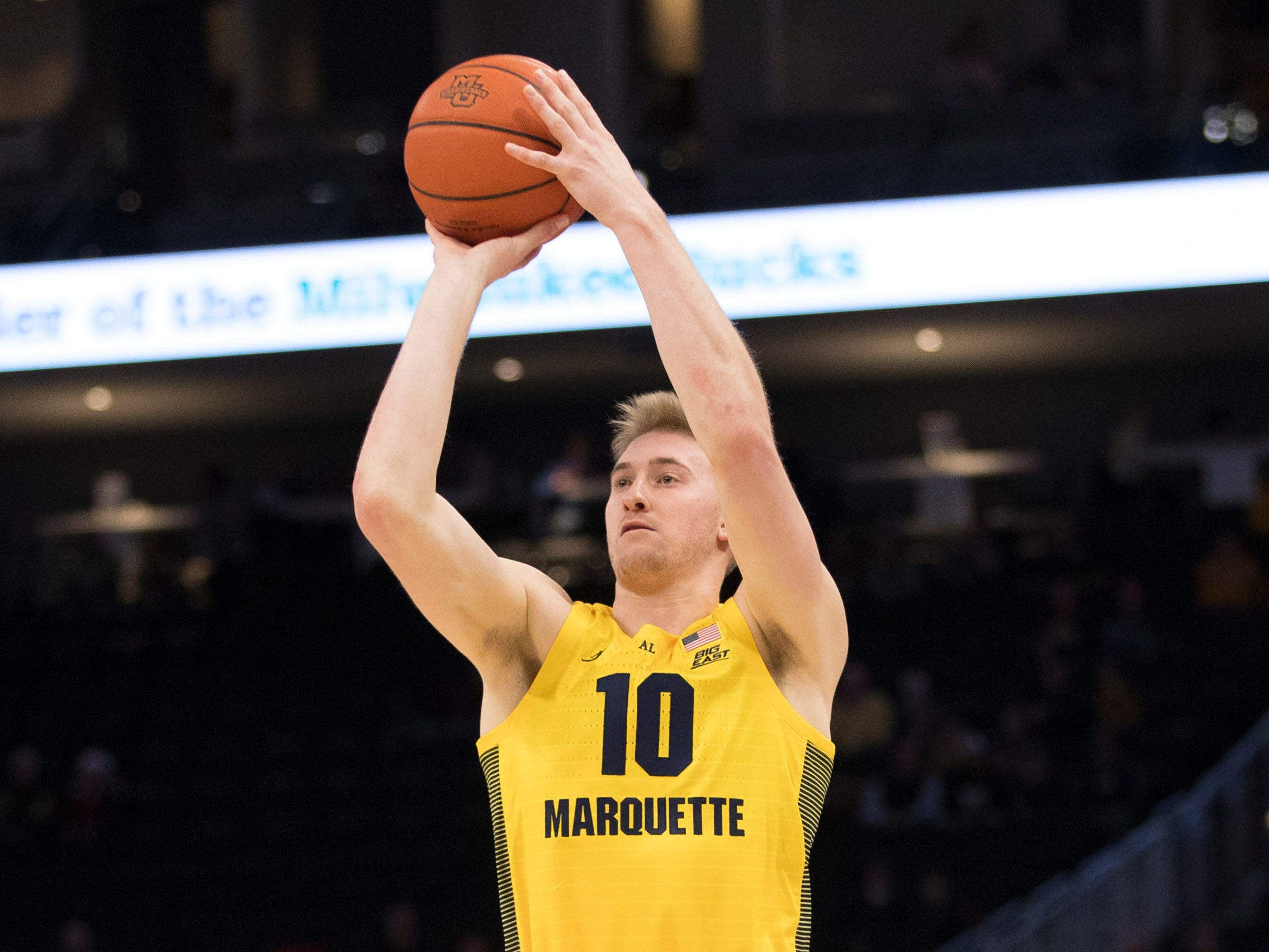 Marquette forward Sam Hauser gets ready to take a shot against North Dakota on Tuesday night.