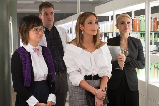 "Jennifer Lopez (second from right, with Charlyne Yi, Alan Aisenberg and Annaleigh Ashford) sets out to prove she can make it after all in ""Second Act."""