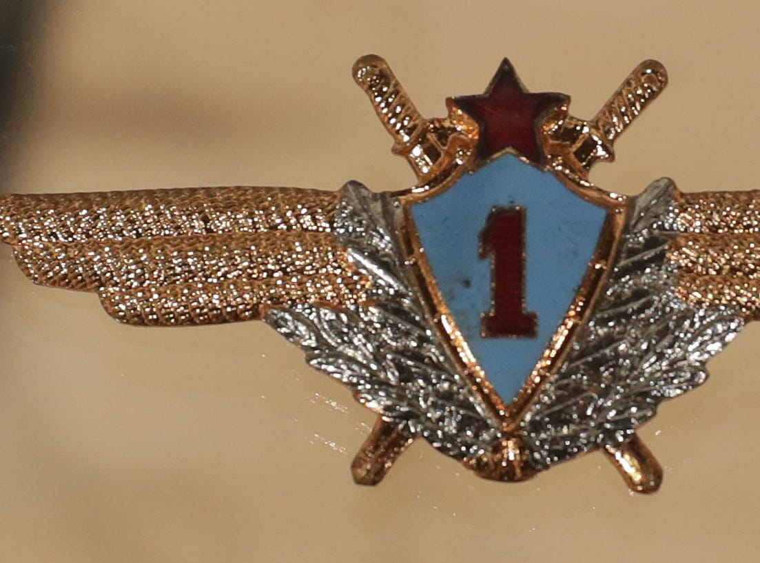 These wings, given to U.S. astronaut Frank Borman by a Russian air force general in 1969, are part of an exhibit of personal memorabilia given by Borman to the EAA AirVenture Museum in Oshkosh.