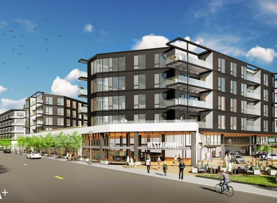 The revised plans for a Bay View apartment development are calling for two buildings with five stories. The original plan was for six-story buildings.