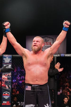 Mountain Home native Josh Copeland after winning a recent PFL fight. Copeland will fight for $1 million and the PFL Heavyweight title on Dec. 31 at Madison Square Garden's Hulu Theater.