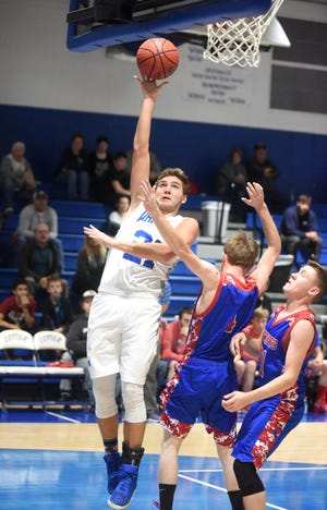 Cotter's Cole Adams goes up for two during the Warriors' victory over Bruno-Pyatt on Tuesday night.