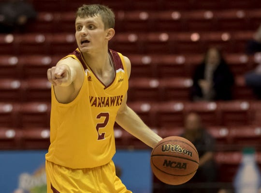 Ertel (2) led the ULM men's basketball team in scoring (16.2 points per game), 3-point field goals (59), assists (81) and steals (30) during the 2019-2020 season.