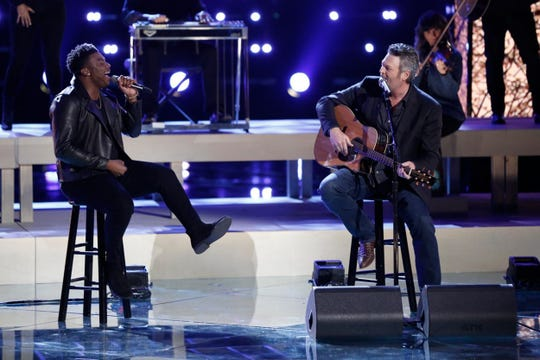 "Montgomery resident and Bay Minette native Kirk Jay performs ""You Look So Good In Love"" Monday with Blake Shelton during part 1 of the season 15 finale of NBC's ""The Voice."""