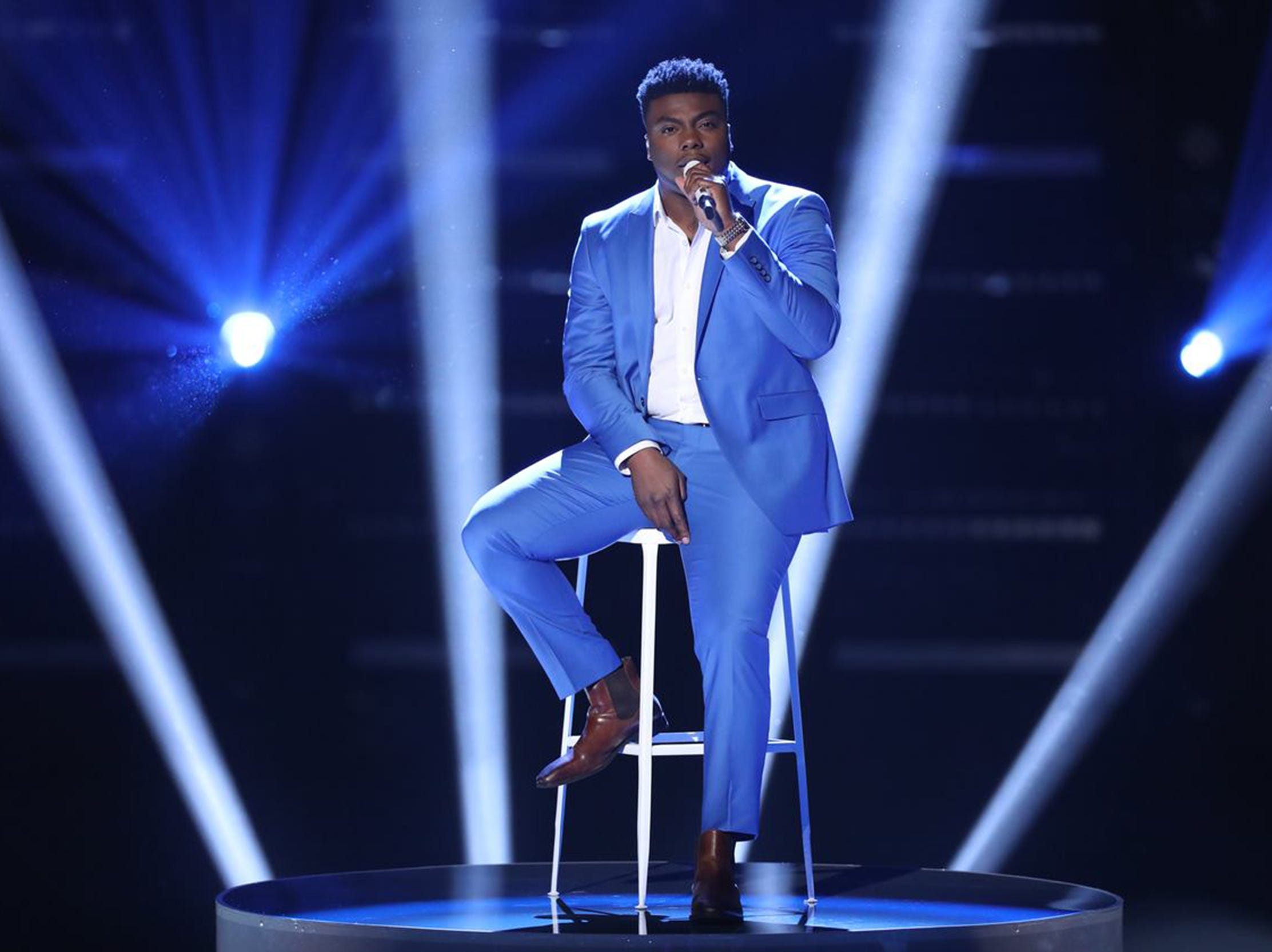 "Montgomery resident and Bay Minette native Kirk Jay performs original song ""Defenseless"" Monday during part 1 of the season 15 finale of NBC's ""The Voice."""