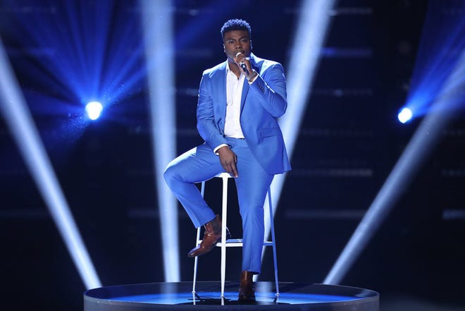 """Montgomery resident and Bay Minette native Kirk Jay performs original song """"Defenseless"""" Monday during part 1 of the season 15 finale of NBC's """"The Voice."""""""