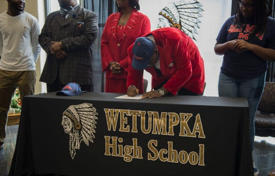 "Patrick ""PJ"" Lucas Jr. announces his commitment to Ole Miss during early signing day ceremony at Wetumpka High School in Wetumpka, Ala., on Wednesday, Dec. 19, 2018."