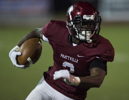Prattville's Jacquez Allen (2) runs the ball against Jeff Davis at Stanley- Jensen Stadium in Montgomery, Ala., on Friday, Oct. 12, 2018. Jeff Davis leads Prattville 19-13 at halftime.