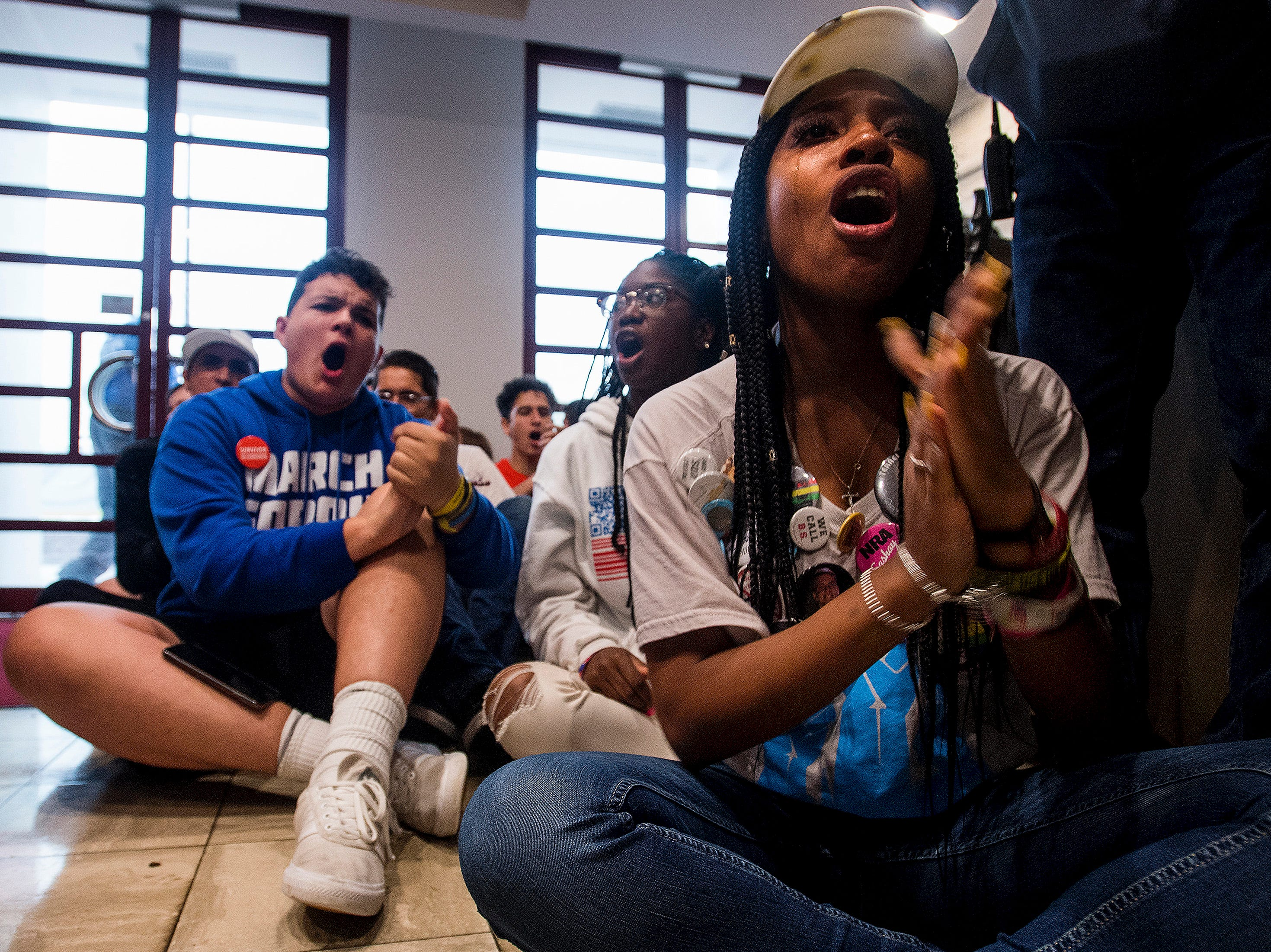 Survivors from the Parkland School shooting and gun violence protestors hold a sit in at the Alabama Statehouse in Montgomery, Ala. on Wednesday August 31, 2018 after not being allowed further into the building during their Road to Change Tour.