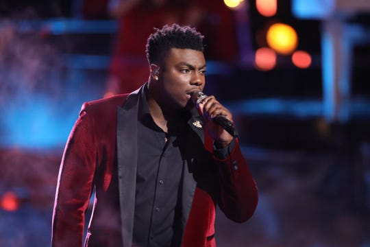 """Montgomery resident and Bay Minette native Kirk Jay performs """"I Won't Let Go"""" Monday during part 1 of the season 15 finale of NBC's """"The Voice."""""""