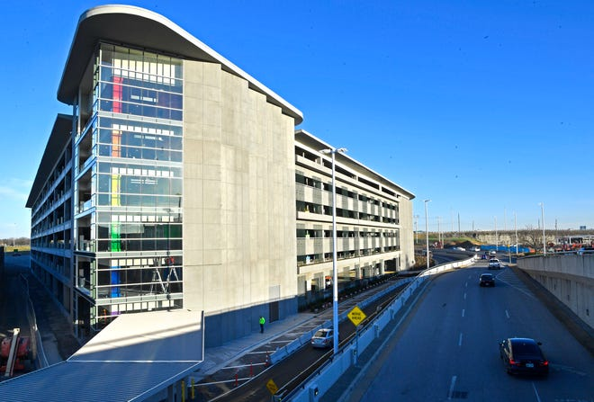 Nashville International Airport is opening a parking and transportation center. The six-level facility offers 2,200 parking spaces, a dedicated ground transportation center for commercial vehicles and modern amenities including a parking space guidance system, electric vehicle charging stations, a tire inflation station, flight information displays, pay-on-foot kiosks and custom art installations.