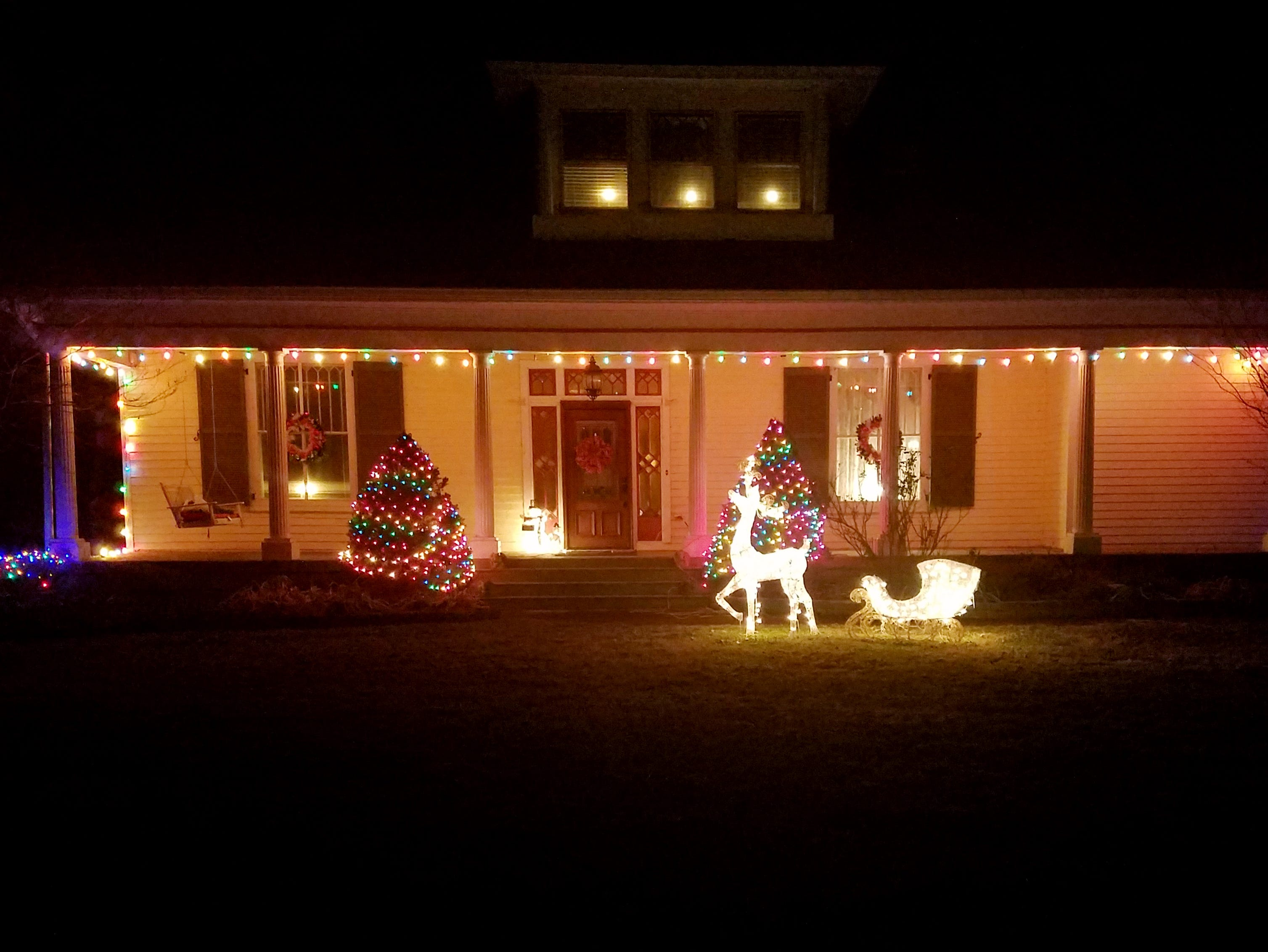 The home of Denver Schimming and Sheila Hobson on Old Dickerson Pike in Goodlettsville is decorated with Christmas lights.