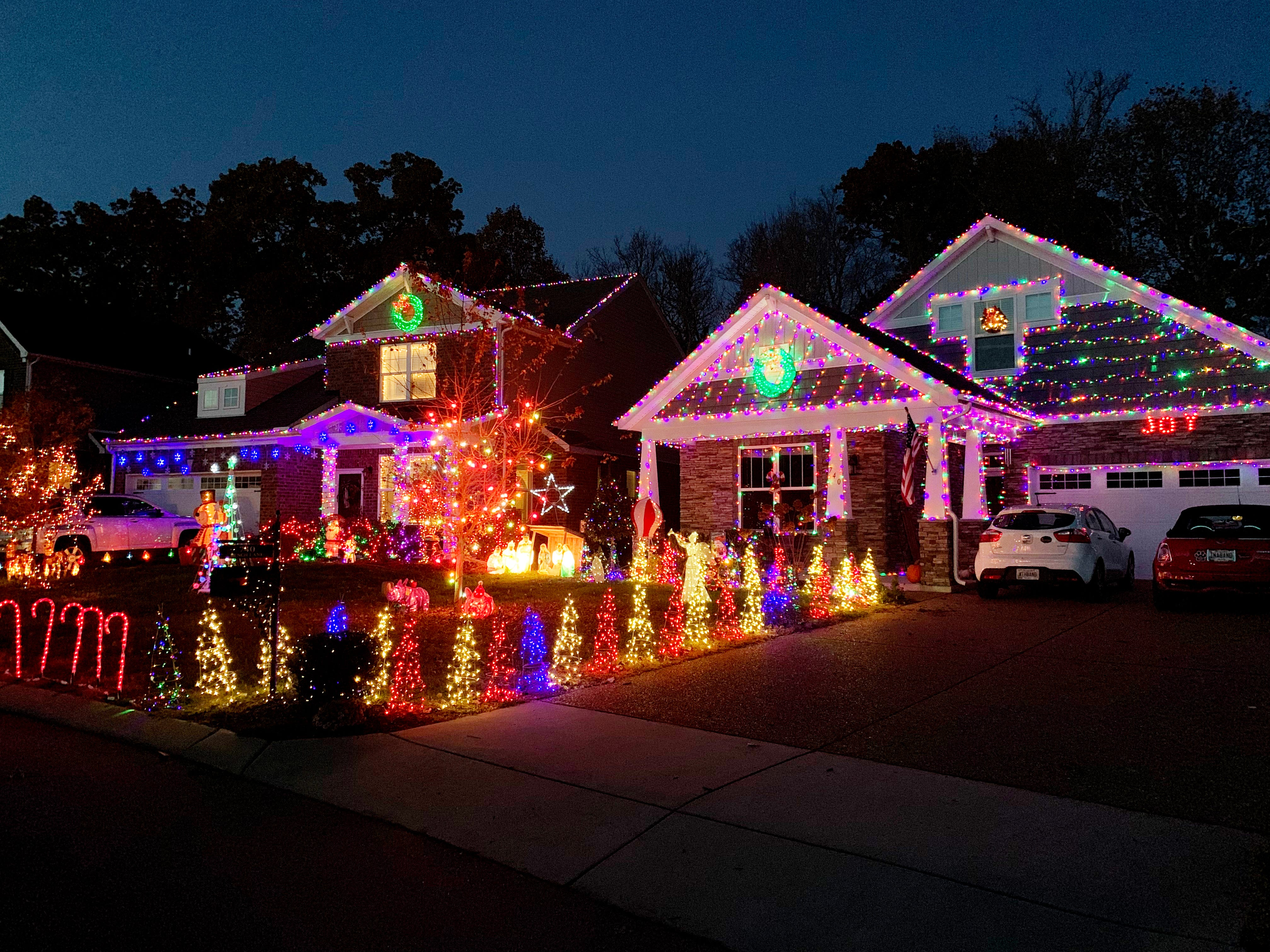 The home of Steve Braun and his neighbors on Bench Lane in Mt. Juliet are decorated with Christmas lights.