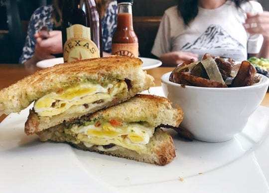 The Southern Fried Egg Sandwich is served at The Southern Steak & Oyster.