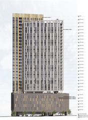 A rendering from Hastings Architecture of the planned 30-story apartment building