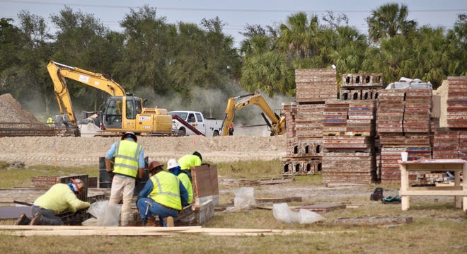Construction crews at Moorings Park Grande Lake prepare the sites for the community's first buildings.