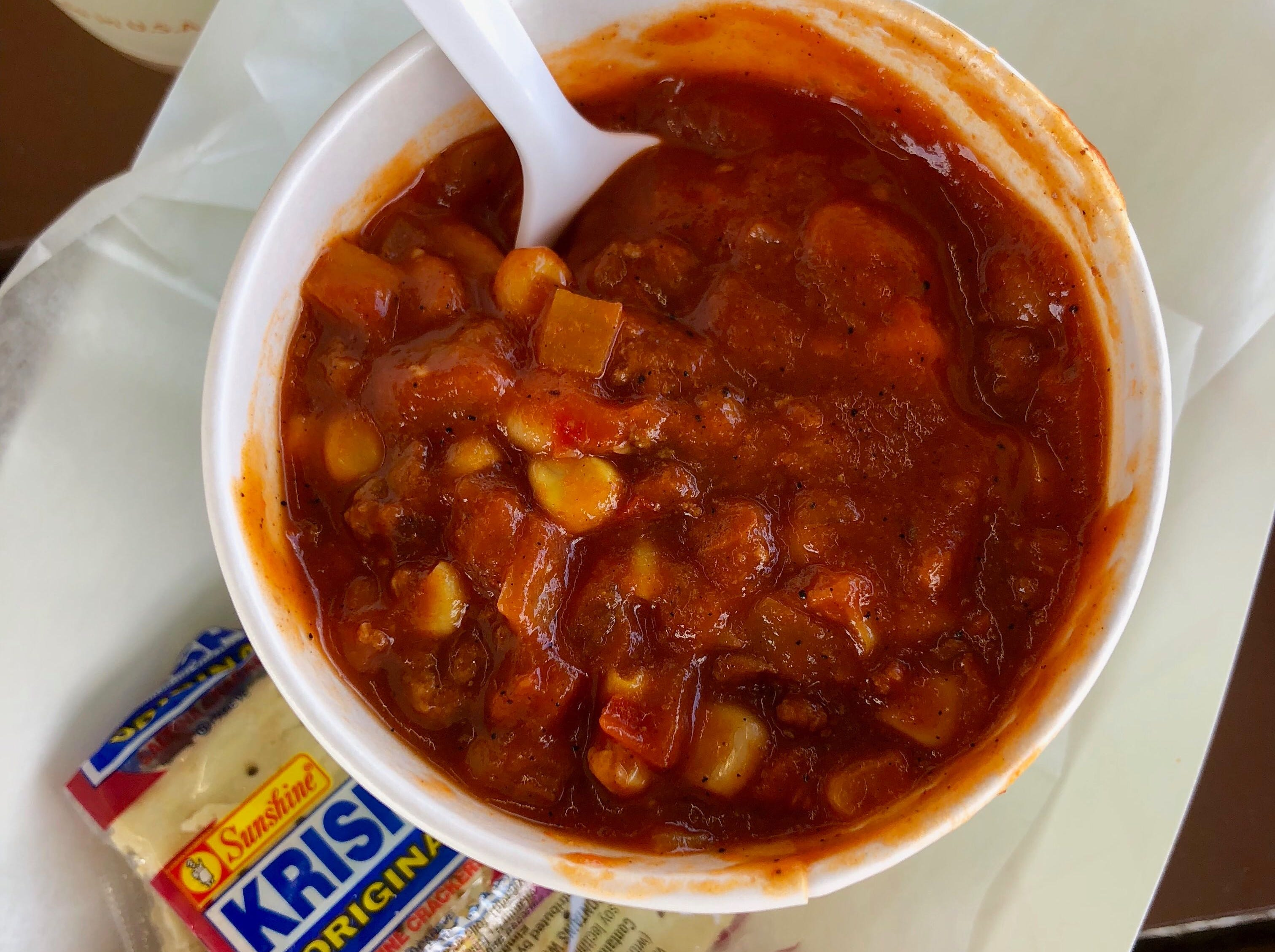 Sante Fe chili at Fresh Harvest Cafe is packed with tomatoes, peppers, onions and roasted corn with a satisfying crunch.