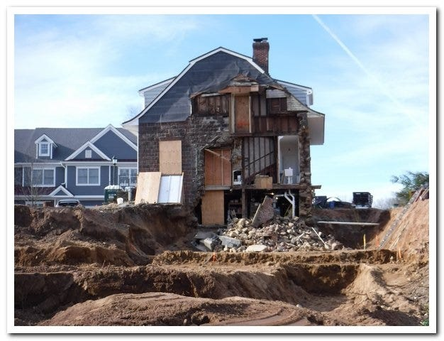 A wall on the east side of the Vanderbeck House in Fair Lawn partially collapsed after an addition was removed.