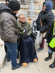 Carlos Castaneda, an immigrants rights activist from Elizabeth, ends hunger strike at State House rally for driver's licenses for undocumented immigrants.