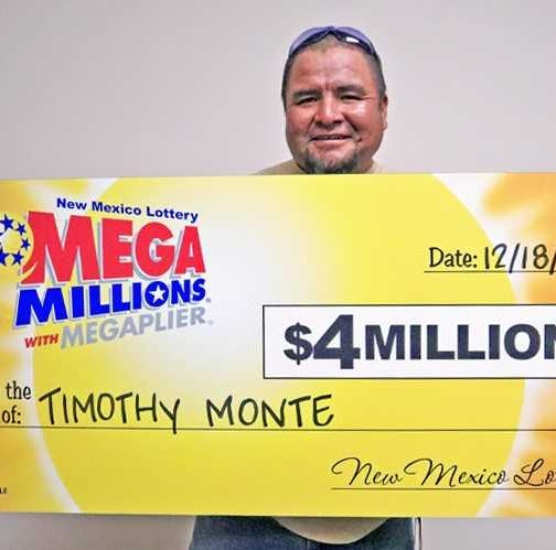 Timothy Monte of Tohajiilee, New Mexico, claimed $4 million in a Mega Millions drawing.