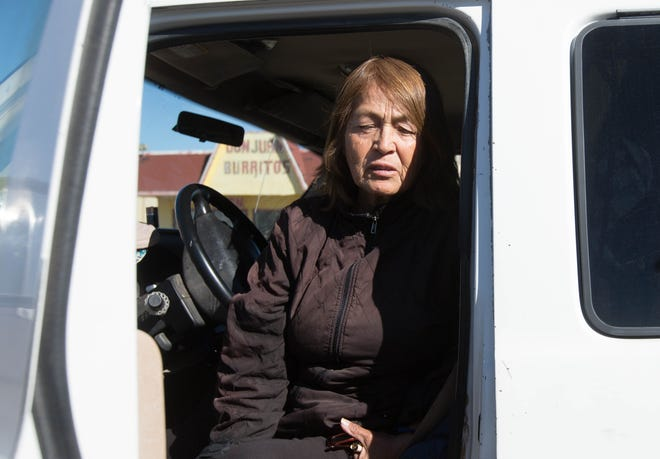 Susana Gonzales, of Deming, New Mexico, sits in her van, parked in the parking lot of the Dollar General in Lordsburg where she was selling oranges and chile, speaking about how sad she thought what was happening on the border has been. Tuesday December 18, 2018.