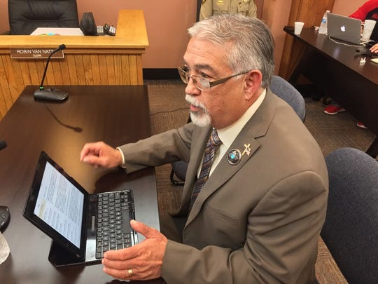 State Rep. David Gallegos (R-61) speaks before the Eddy County Board of Commissioners Dec. 18.