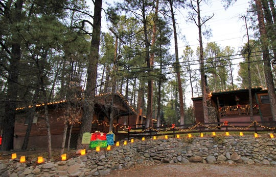 Lodges and cabins in Upper Canyon delight guests with all of their decorations and holiday lights.