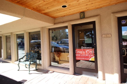 The entrance to Tina's Cafe at their new location in Boulder Plaza. The larger facility offers more seating and parking than previously.