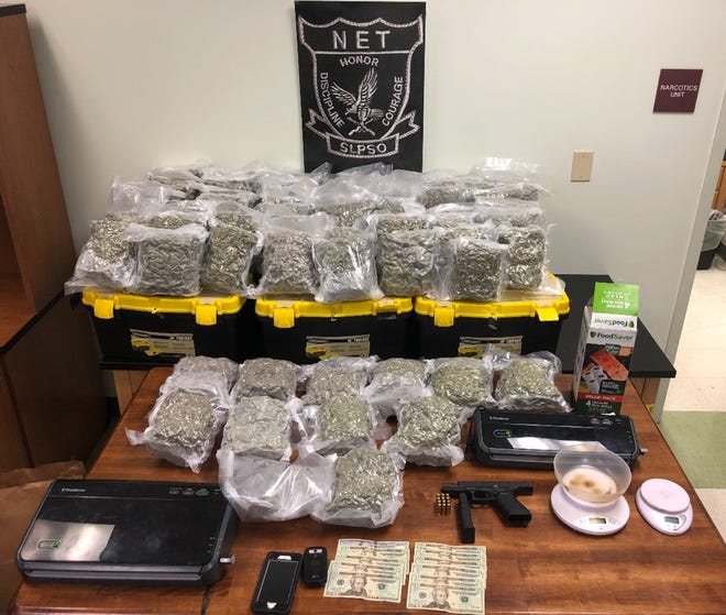 Three men were arrested Monday after more than 70 pounds of high-grade marijuana was found and seized in Opelousas.