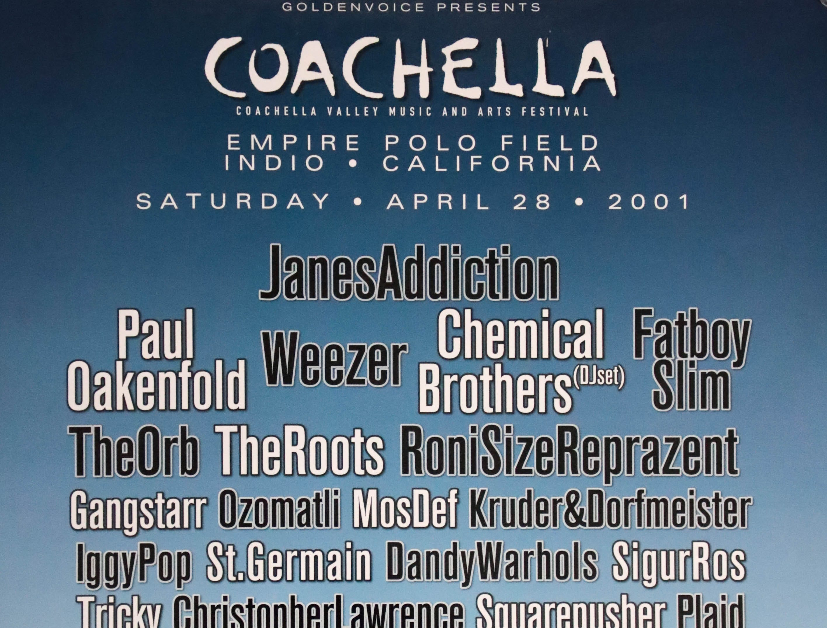 Coachella Valley Music and Arts Festival poster 2001
