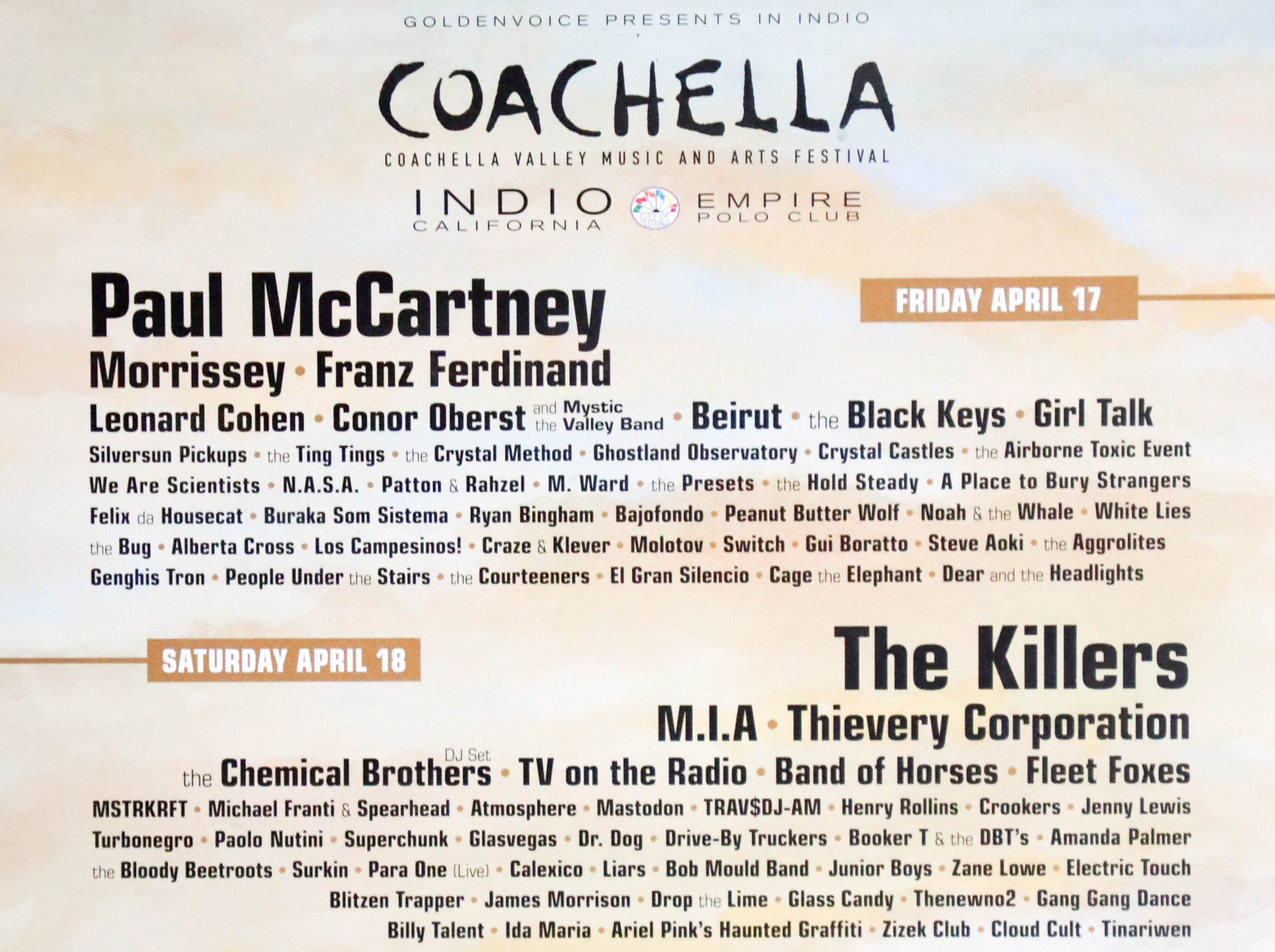 Coachella Valley Music and Arts Festival poster 2009