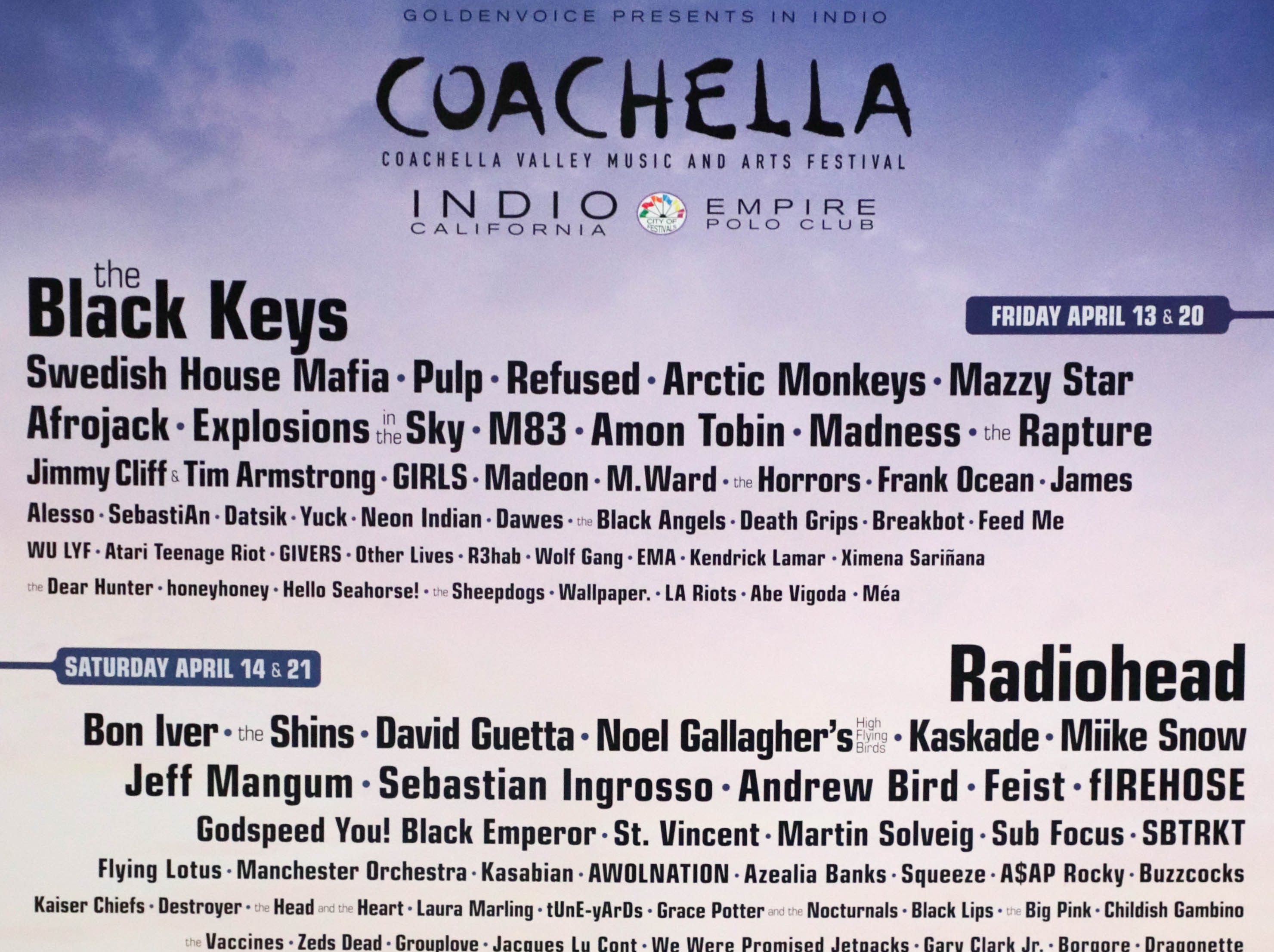 Coachella Valley Music and Arts Festival poster 2012