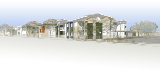 A rendering shows the proposed affordable housing units on the southeast corner of Indian Canyon and San Rafael drives in Palm Springs.