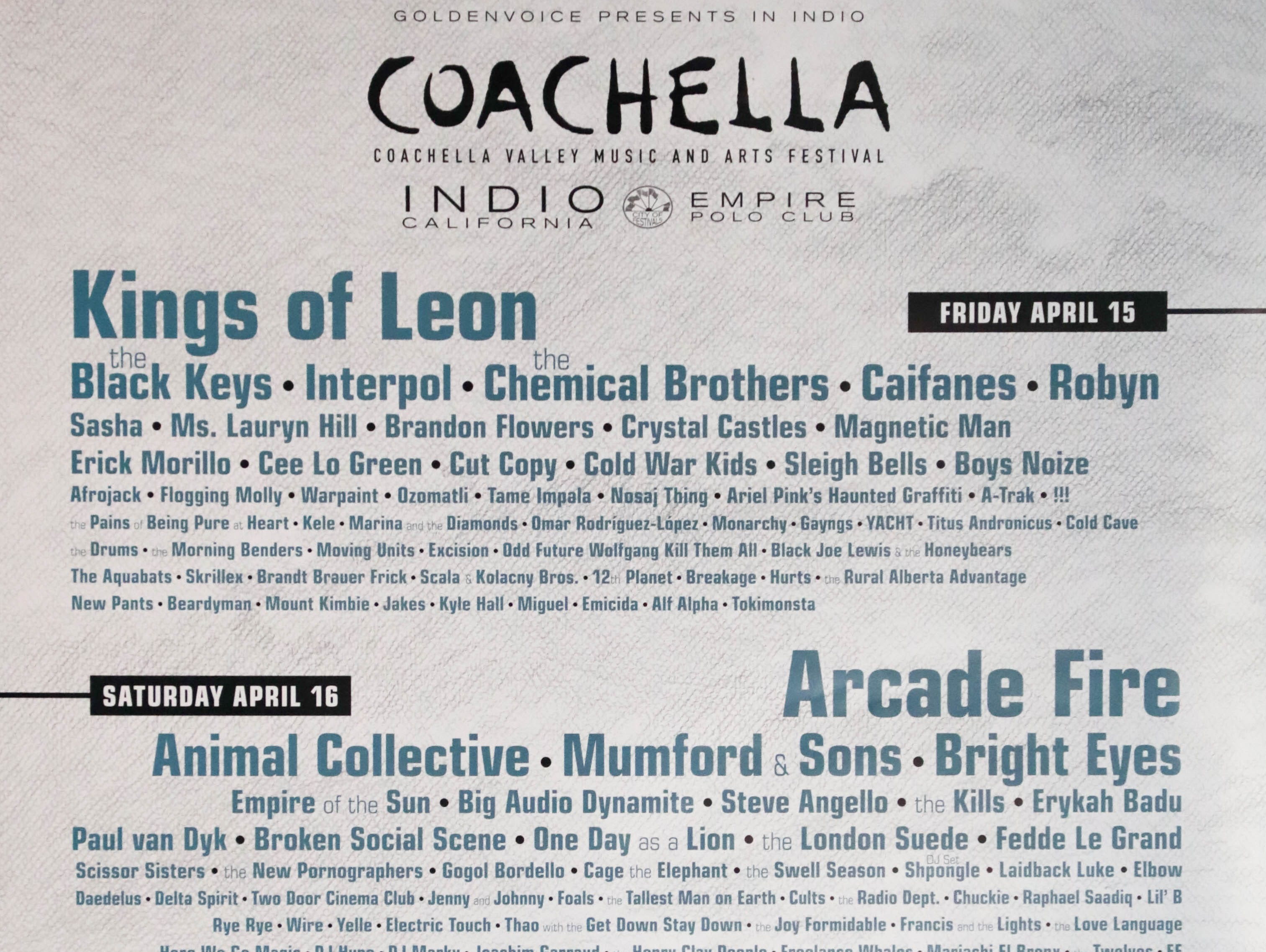 Coachella Valley Music and Arts Festival poster 2011