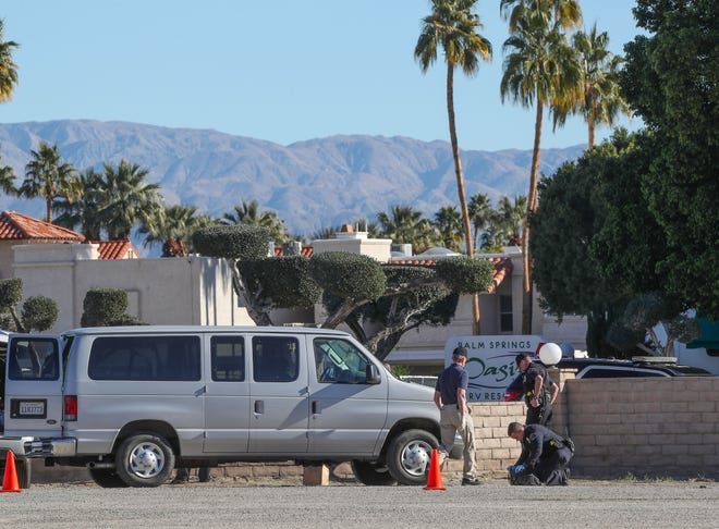 Police investigate the scene where a person was found dead of an apparent suicide near the Palm Springs Oasis RV Resort near the intersection of Date Palm and Gerald Ford Rd., December 19, 2018.