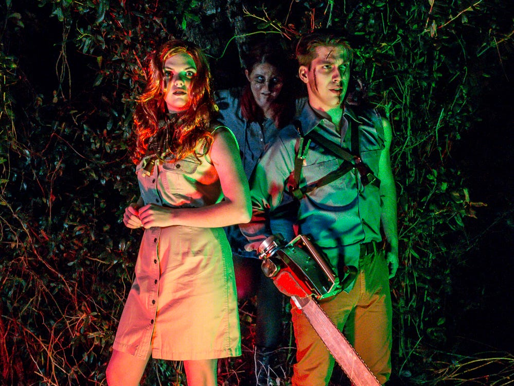 """Evil Dead: The Musical"" cast members, from left, Hannah Sharpe, Kay Joyce and Garrett Summitt pose for a promo photo on Wednesday, Dec. 12, 2018. The musical, based off of three ""Evil Dead"" movies between 1981 and 1992, runs from Jan. 3-6 at Vinyl Music Hall."