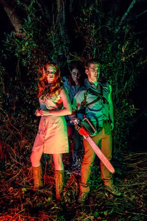 """""""Evil Dead: The Musical"""" cast members, from left, Hannah Sharpe, Kay Joyce and Garrett Summitt pose for a promo photo on Wednesday, Dec. 12, 2018. The musical, based off of three """"Evil Dead"""" movies between 1981 and 1992, runs from Jan. 3-6 at Vinyl Music Hall."""