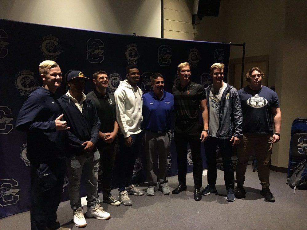 The Chandler Wolves had seven players sign their football letters on the first day of the Early Signing Period, Dec. 19, 2018. #azhsfb
