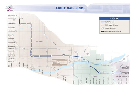 The original line has been extended twice —  3.1 miles through downtown Mesa in 2015 and 3.2 miles in Phoenix to 19th Avenue and Dunlap Road in 2016.