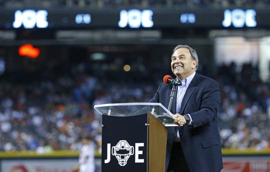 Joe Garagiola Jr. laughs during a tribute to his father Joe Garagiola Sr. Monday, May 16, 2016 during a pre-game ceremony for the baseball great at Chase Field in Phoenix, Ariz.