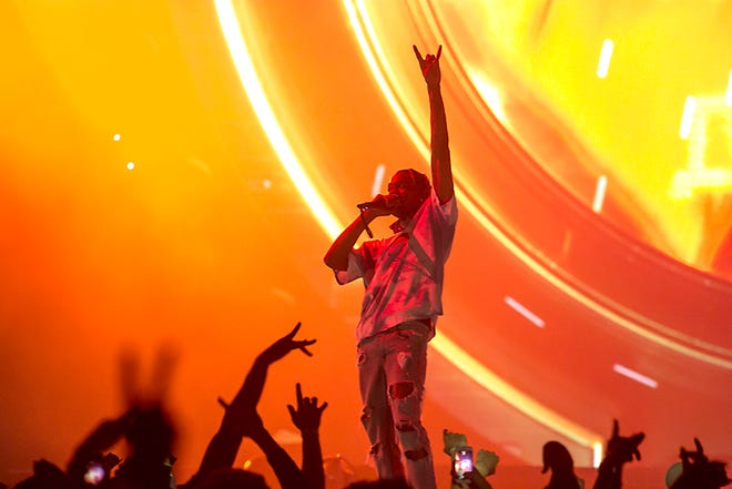 "Travis Scott performs near Phoenix earlier this month. Scott has announced a second leg of his ""Astroworld: Wish You Were Here Tour"" that includes a Feb. 24 show at the Schottenstein Center in Columbus."