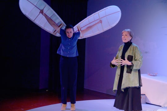 """Maureen Dias (left) plays Artie,  daughter of eccentric extraordinaire, Dorothea,  played by Judy Lebeau, in """"Eleemosynary"""" at Theatre Artists Studio (March 2011 photo)."""