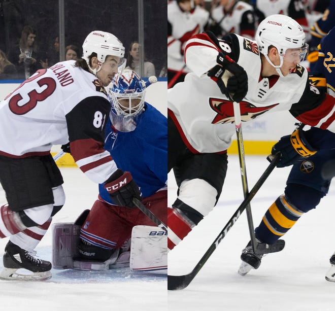 Conor Garland (left) and Michael Bunting shared a road trip with the Coyotes they won't soon forget.