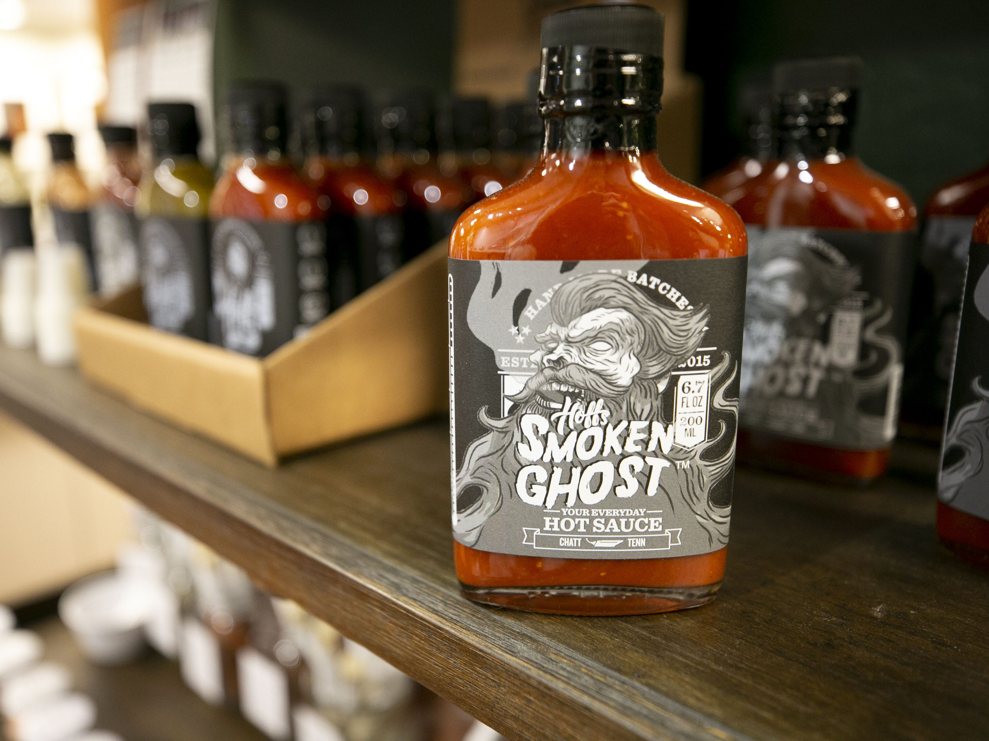 Hoff's Smoken Ghost hot sauce at Outrageous Olive Oils & Vinegars in Old Town Scottsdale on Tuesday, Dec. 11, 2018. The shop is owned by former child actor, Frankie Muniz and his fiance Paige Price.